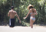 Cheryl Cole in swimsuit and Ashley Cole on the beach and at the pool in Costa del Sol