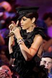 Rihanna in skin tight leather trousers performs during the Much Music Video Awards in Toronto